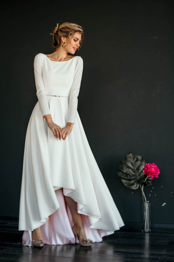 Wedding dress MAKANI // high low skirt modest wedding dress, long narrow sleeves, a line skirt, color lining, scoop back, simple, minimalist