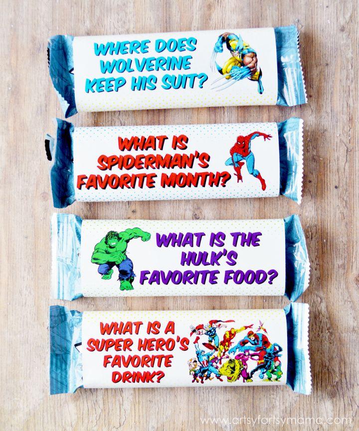 Free Printable MARVEL Chewy Granola Bar Wrappers Marvel super - fresh birthday invitation jokes