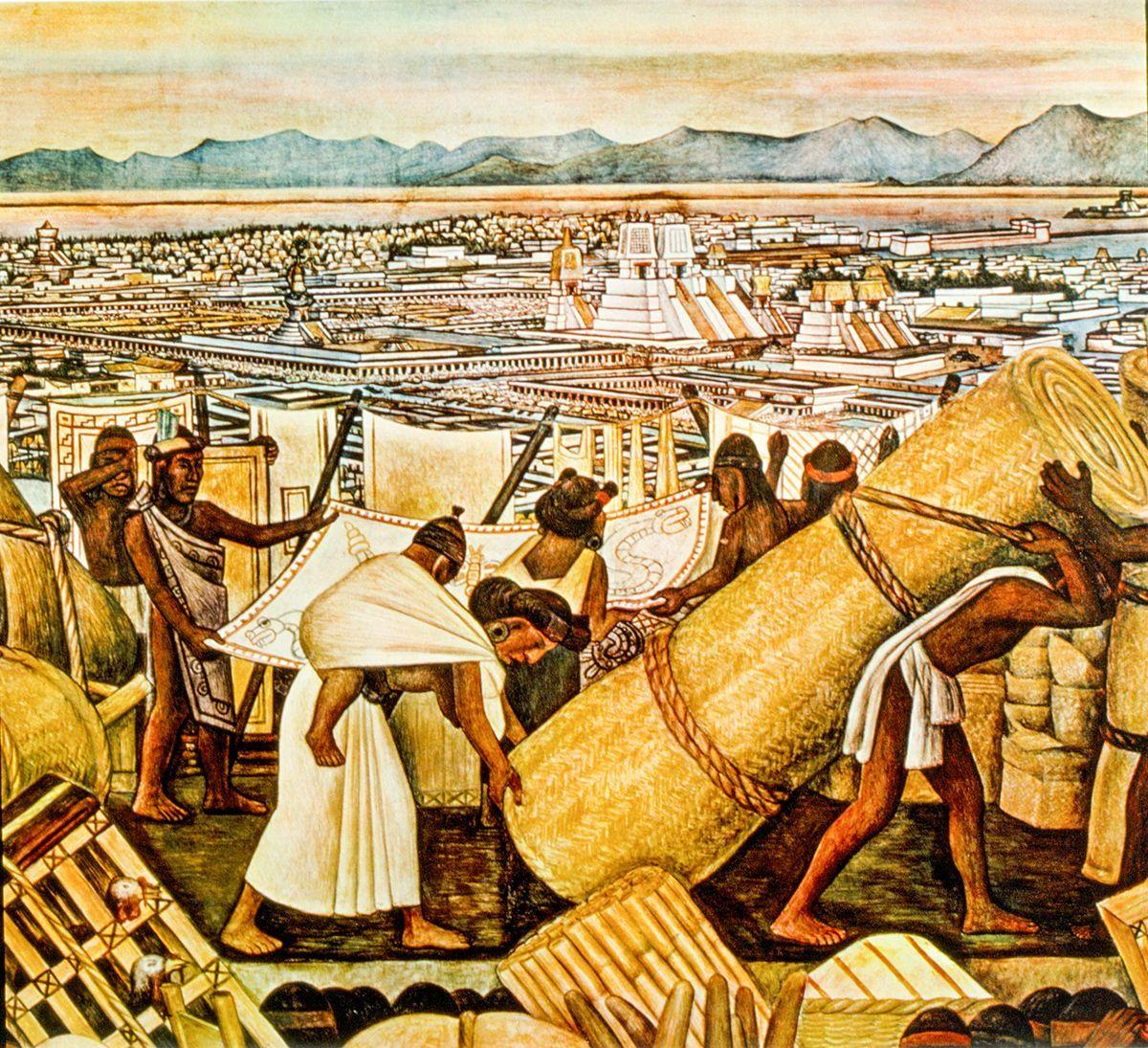 Diego rivera mercado de tlatelolco tenochtitlan antes for Diego rivera tenochtitlan mural