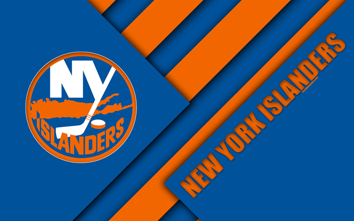 Download Wallpapers New York Islanders 4k Material Design Logo NHL Blue