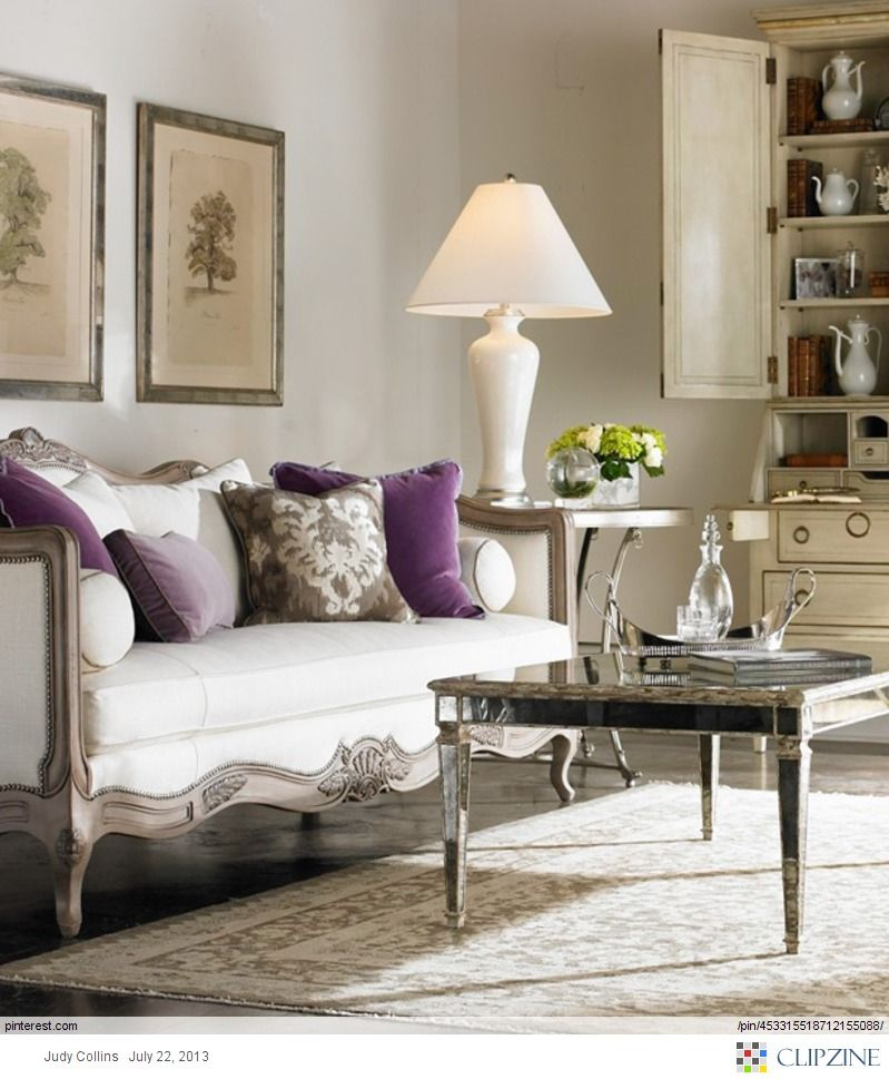 Gray, White And Eggplant. Love The Details On The Couch