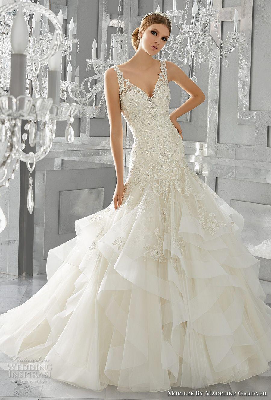 Morilee By Madeline Gardner Fall 2017 Wedding Dresses Wedding Inspirasi Drop Waist Wedding Dress Lace Top Wedding Dress Mori Lee Wedding Dress [ 1326 x 900 Pixel ]
