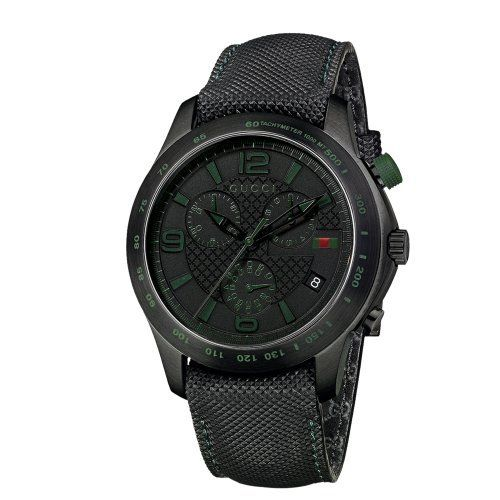 Gucci Men's YA126225 G-Timeless Chronograph Black IP Techno Leather Watch Gucci. $1250.00. Swiss Made ETA movement. Sapphire crystal with anti-reflective coating on the inside. Black PVD treated steel case with tachymeter scale on the bezel; case diameter: 45 mm. Water-resistant to 99 feet (30 M/3 ATM). Black embossed leather strap with green stitching and ardillon buckle; green super luminova indexes and date at 4 o'clock