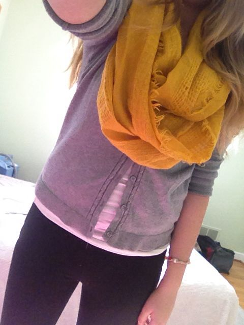 grey cardigan, white tanktop, and yellow scarf. :)