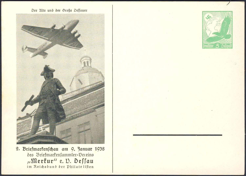 Germany, German Empire, 09.01.1938, Dessau, 2. Briefmarken-Schau des Sammlervereins Merkur, 5 Pfg.-GA-Privatpostkarte, ungebr., I (Mi.-Nr.PP142/C23). Price Estimate (8/2016): 10 EUR.