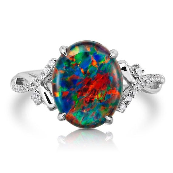 Natural Opal Ring 18k White Gold & Genuine Diamonds RARE Coober Pedy Mine  Black Opal Triplet Fashion Anniversary Birthstone Ring