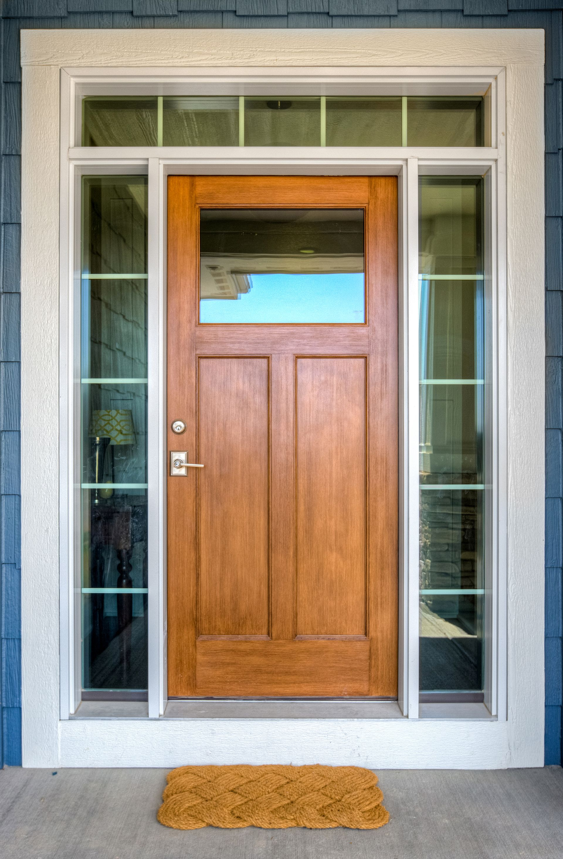 Stained fiberglass front door with sidelights and transom for Fiberglass entrance doors