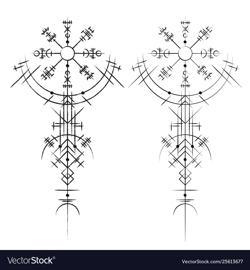 Magic Ancient Viking Tatoo Vector Image On Vectorstock In 2020 Viking Tattoo Symbol Rune Tattoo Norse Tattoo