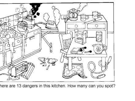 science spot the hazards kitchen safety worksheet kids hazards in 440 330 facs. Black Bedroom Furniture Sets. Home Design Ideas
