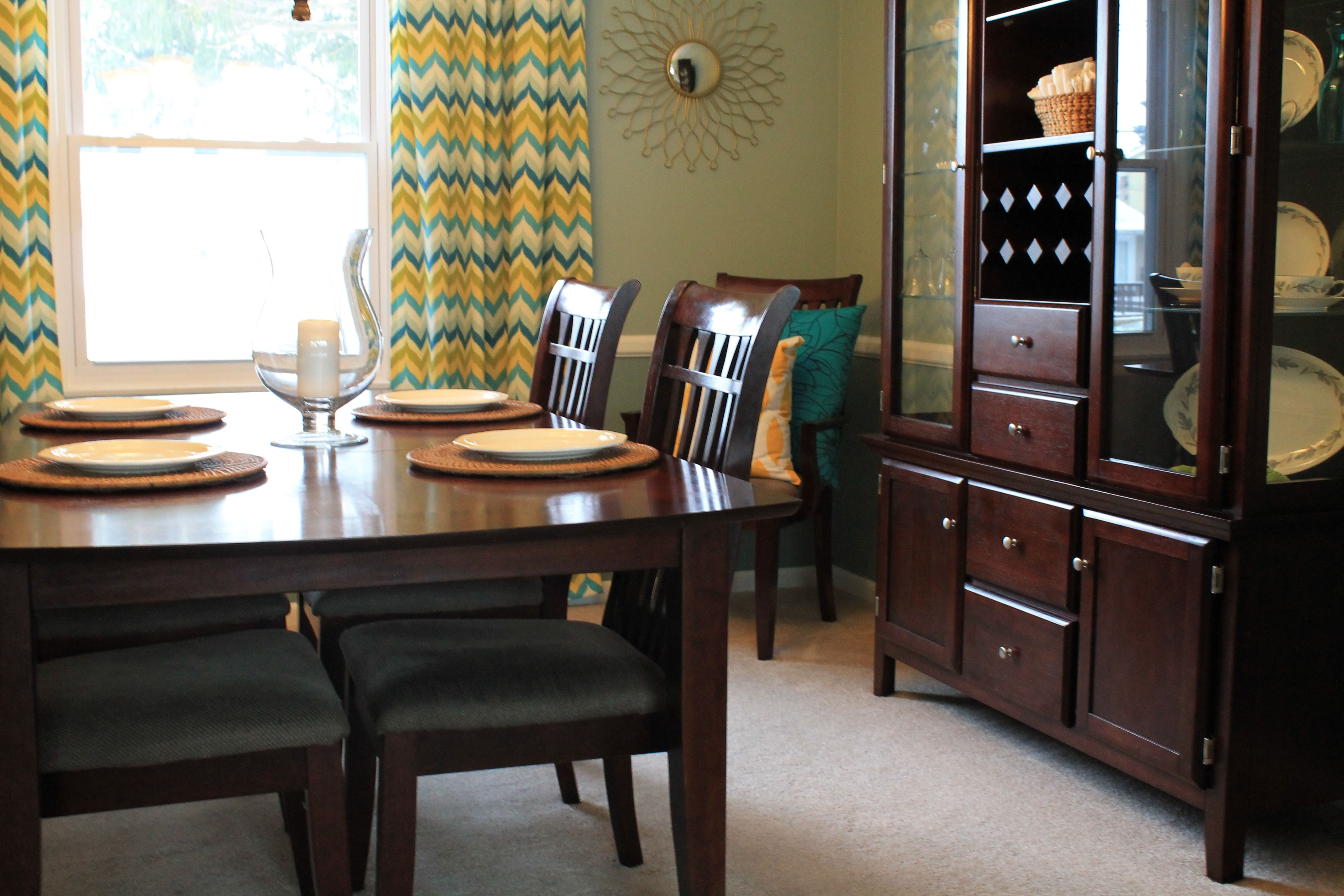 Dining room teal yellow kitchen dining room pinterest for Dining room ideas teal
