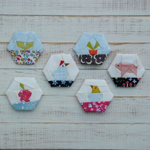 Farm Life - a paper piecing hexagon pattern | Nähen auf Papier ...