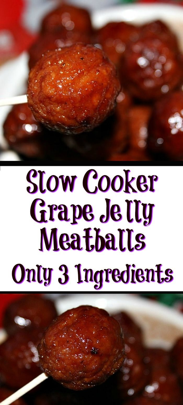 These Slow Cooker Grape Jelly Meatballs are perfect for any get together and are quick and easy to whip up! Put it on a toothpick and it's a crowd favorite!  #SavorTheMemory #meatballs #crockpot #favourites