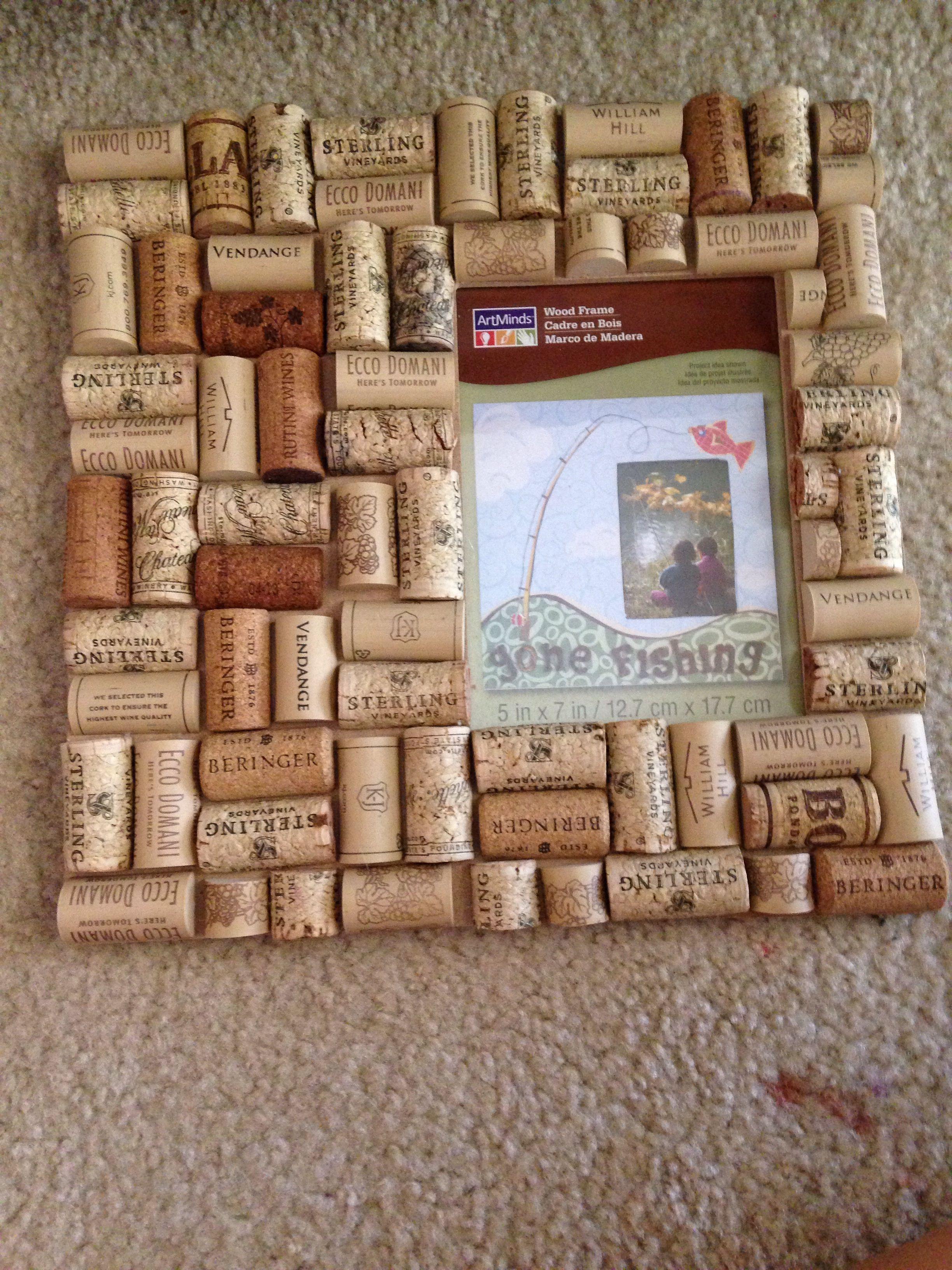 wine cork picture frame diy love super easy to make