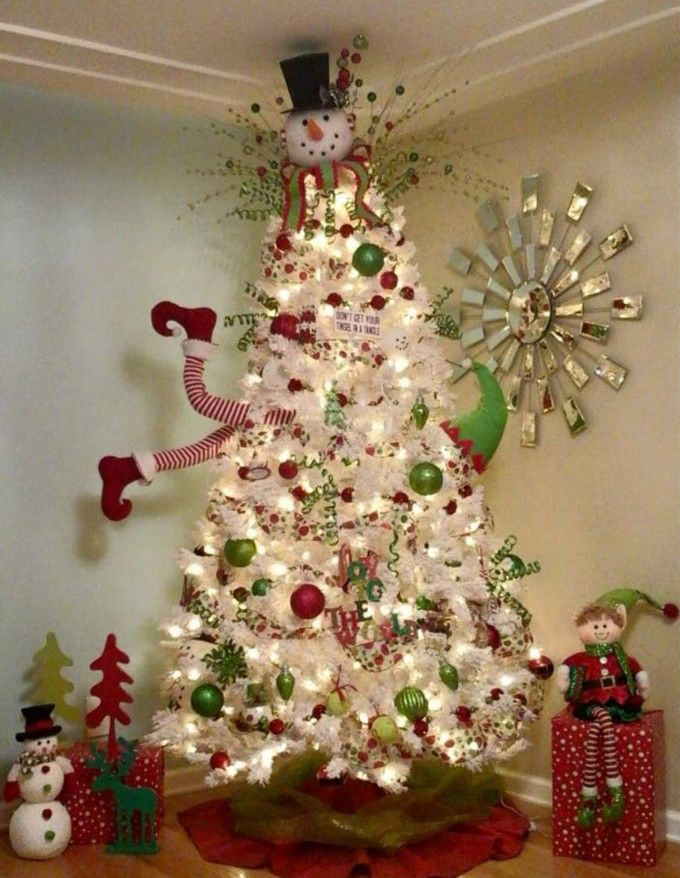 elf stuck in a treethese are the most creative diy christmas trees - Elf Christmas Decorations