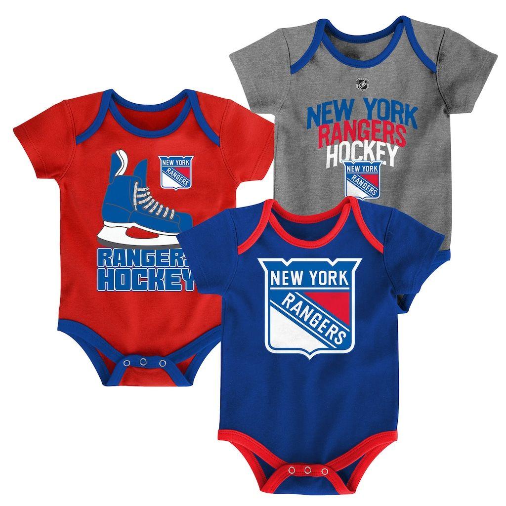 d577b129205 Baby New York Rangers 3-Pack Hat Trick Bodysuit Set, Infant Unisex, Size:  12 Months, Blue Other