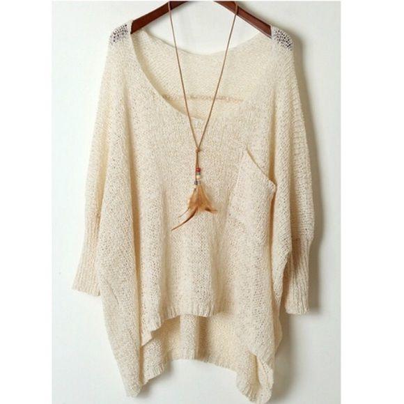 Oversized Sweater Lovely beige sweater. Front pocket, 3/4 sleeves ...