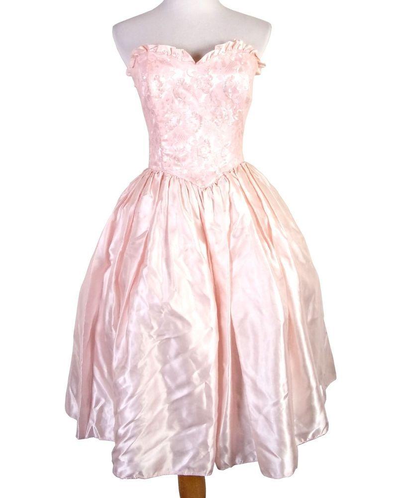 Vtg s gunne sax jessica mcclintock light pink sweetheart prom