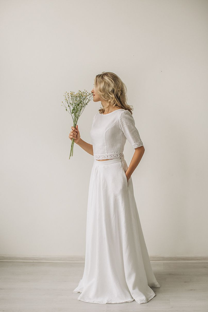 b405ba84fd6 Linen crop top wedding dress with a lace. Handcrafted by CozyBlue. All our linen  wedding dresses are made to personal body measurements.