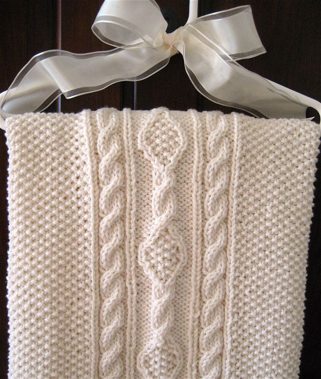 Irish Knit Baby Blanket, \