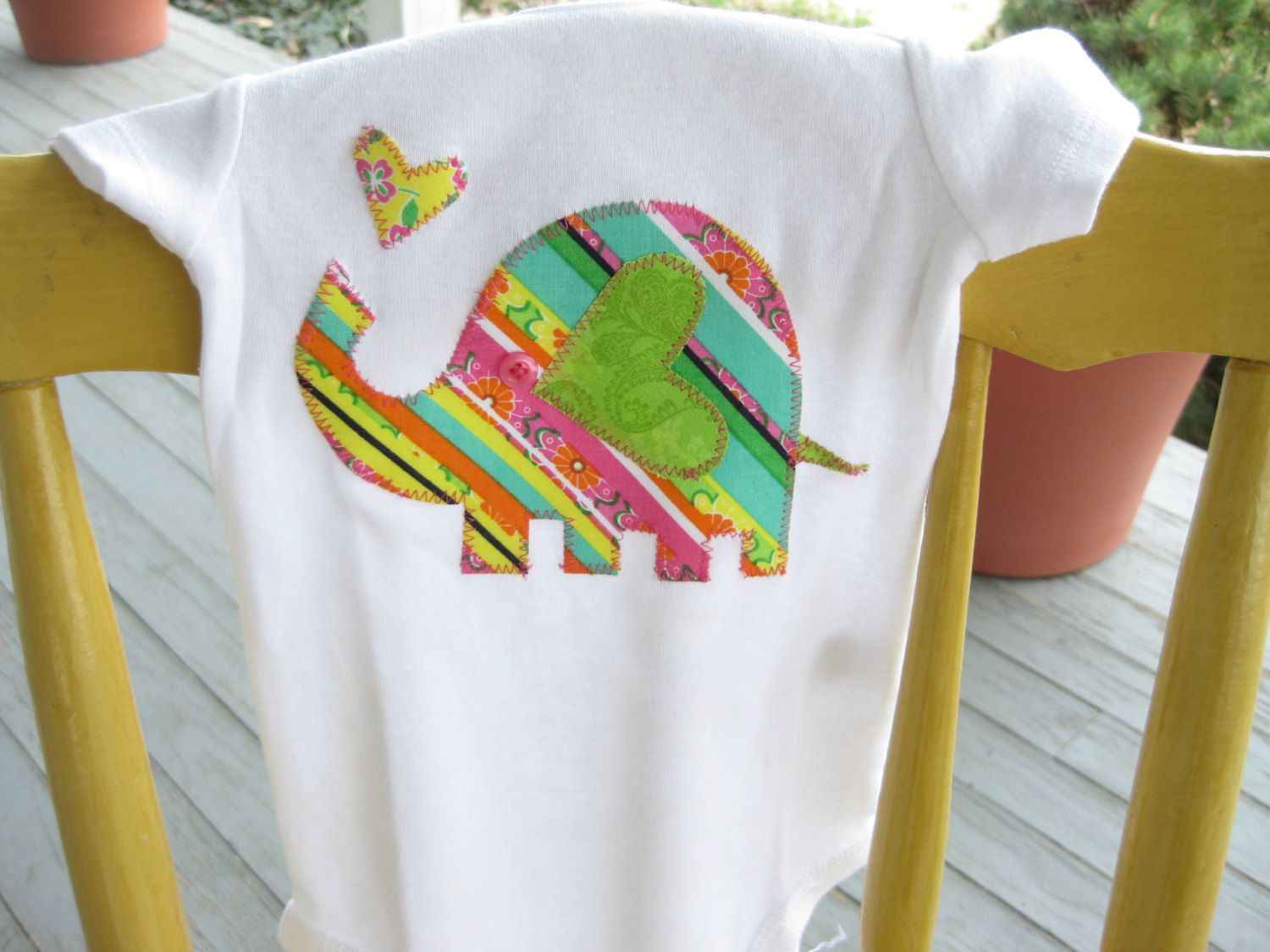 Adorable Elephant Applique Onesie by MinnieKate on Etsy