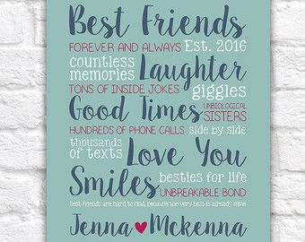 3f1c44f61ce Best Friend Gift, Custom Gift for Home Decor, Names, Personalized, Birthday  Gift, Friends, Funny, Sister, BFF, Unique Gift, Bold | WF418