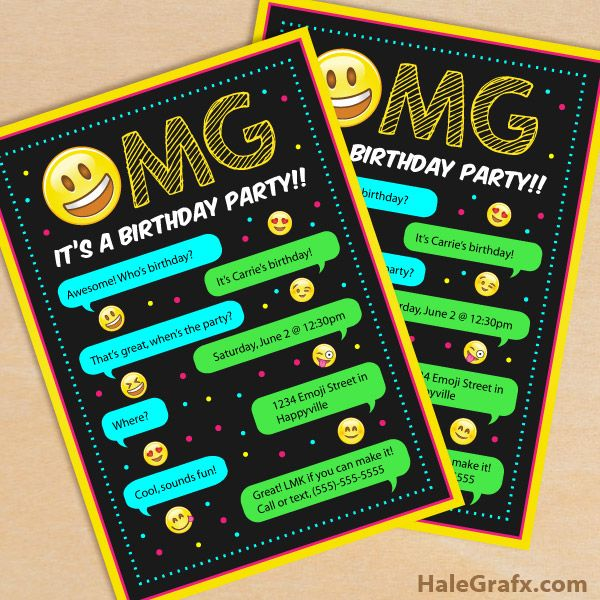 Emoji Birthday Invitations Free Printable Template Party - free birthday invitations to print