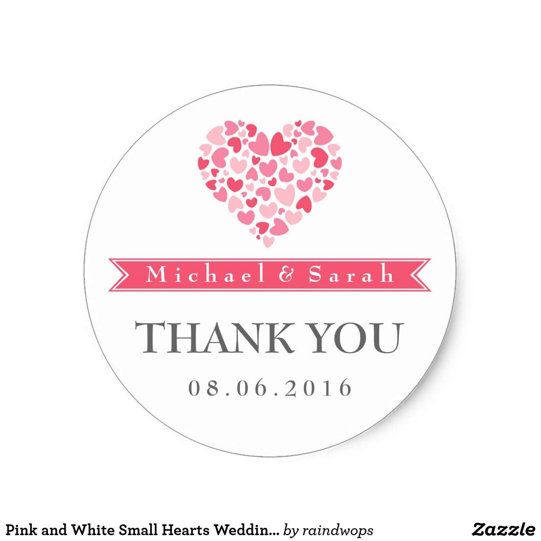 Pink and White Small Hearts Wedding Favor Sticker | Wedding and ...