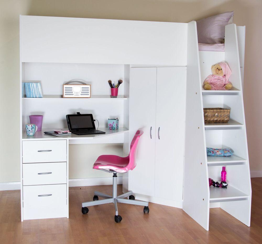 Cornwall Highsleeper Cabin Kids Bed Desk Shelves Wardrobe White