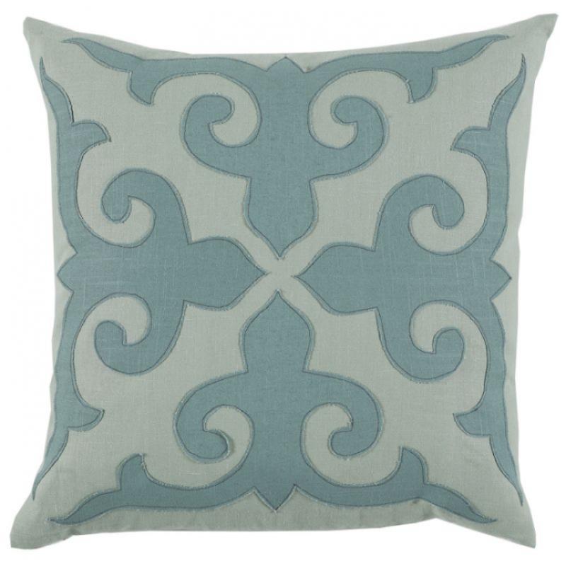 22X22 Pillow Insert Mosaic Applique With Seafoam And Aquamarine Linen Throw Cushion