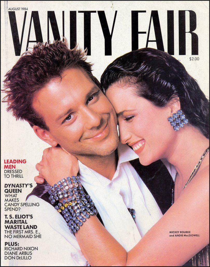 Vanity Fair, August 1984 — Mickey Rourke & Andie MacDowell ...