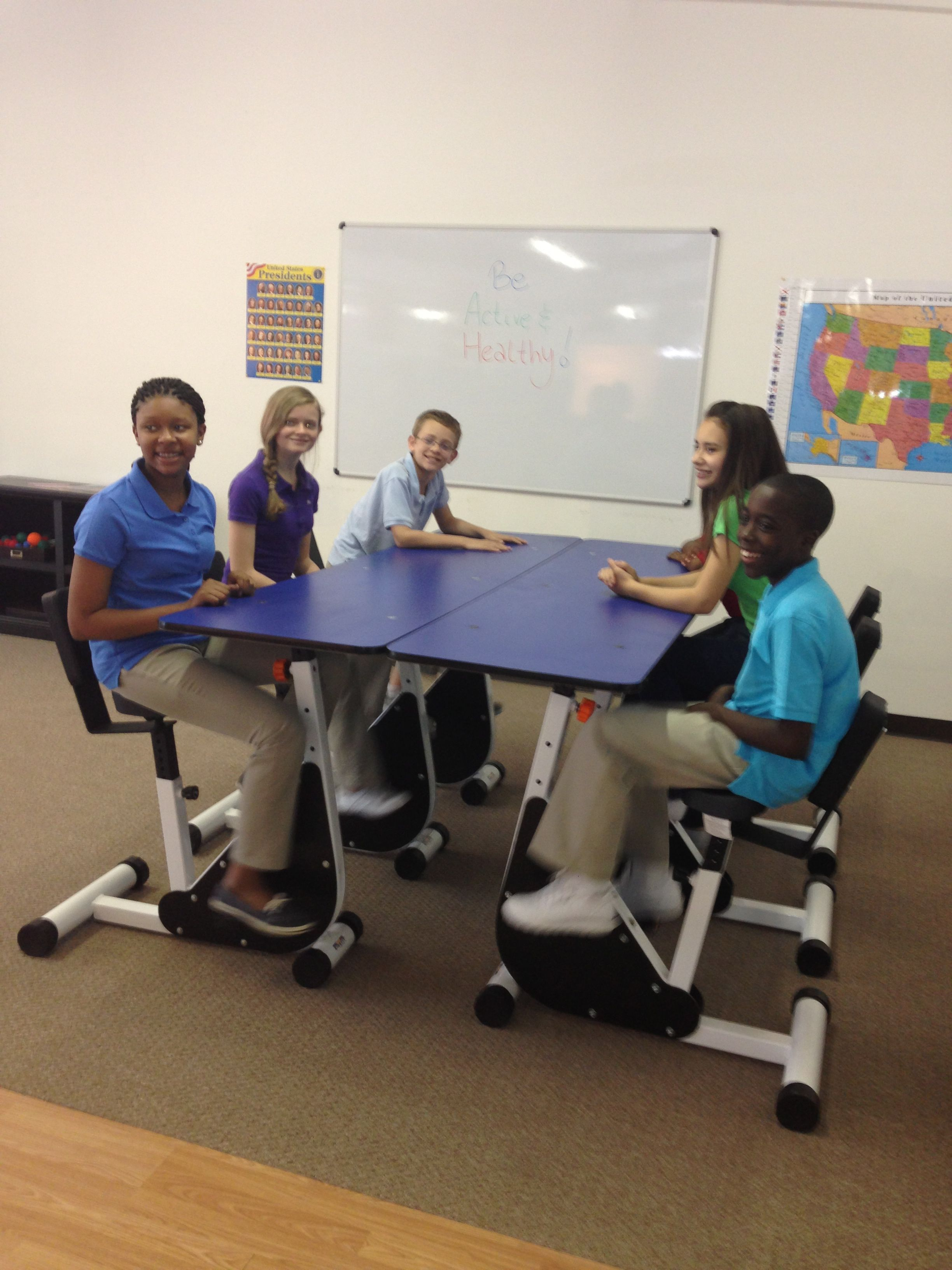 The 6 Person Pedal Desk By Kidsfit Great For Students Who Require Continual Motion As The Ped Modern Classroom Lower Body Muscles Flexible Seating Classroom