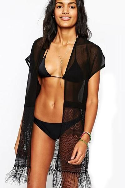 8e319b976b Sheer Fringed Black Beach Kimono-Swimwear Cover Up | Bikini ...