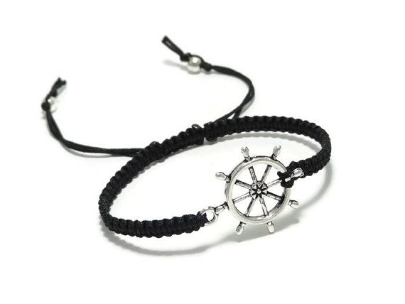 a il nautical him cord black ship jewelry shani bracelet fullxfull silver adi products for plated mens men with wheel jewerly gift