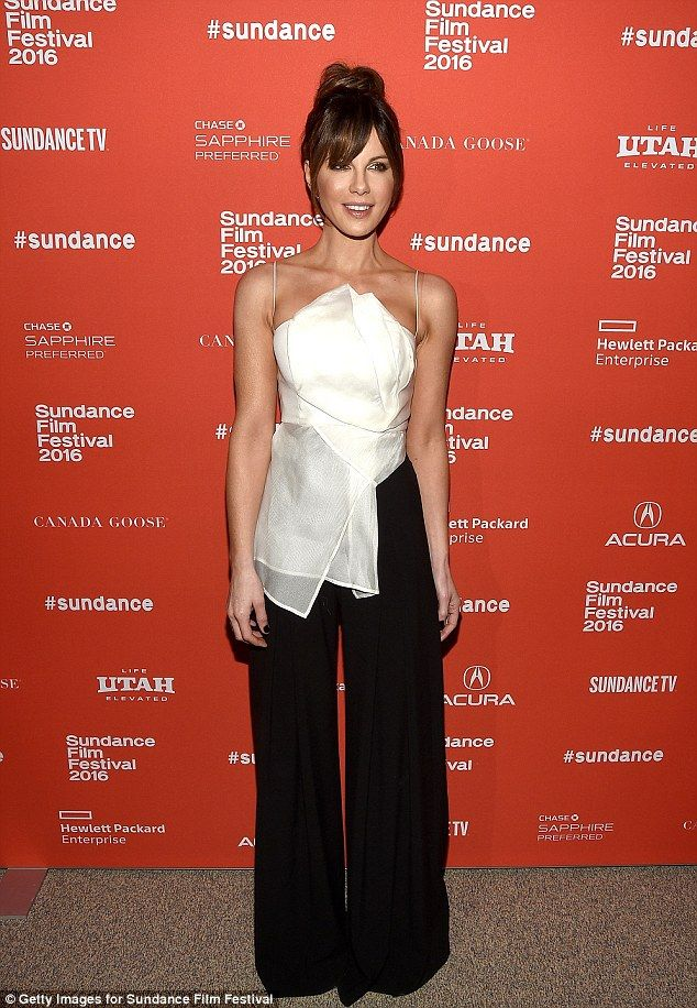 Kate Beckinsale braved the winter chill in a chic white tank and black trousers at the premiere of Love & Friendship at the Sundance Film Festival in Park City, Utah on January 23, 2016