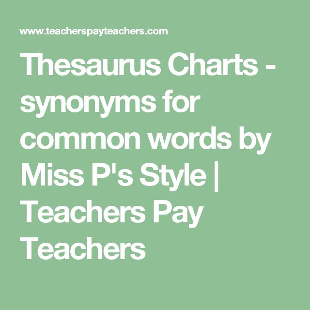 Thesaurus Charts - synonyms for common words | Teacher pay teachers ...