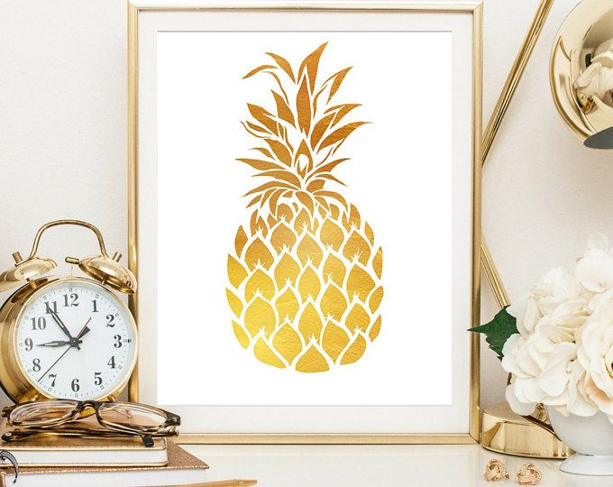 Gold Pineapple, Housewarming gift, wall art print, wall decor, gift ...