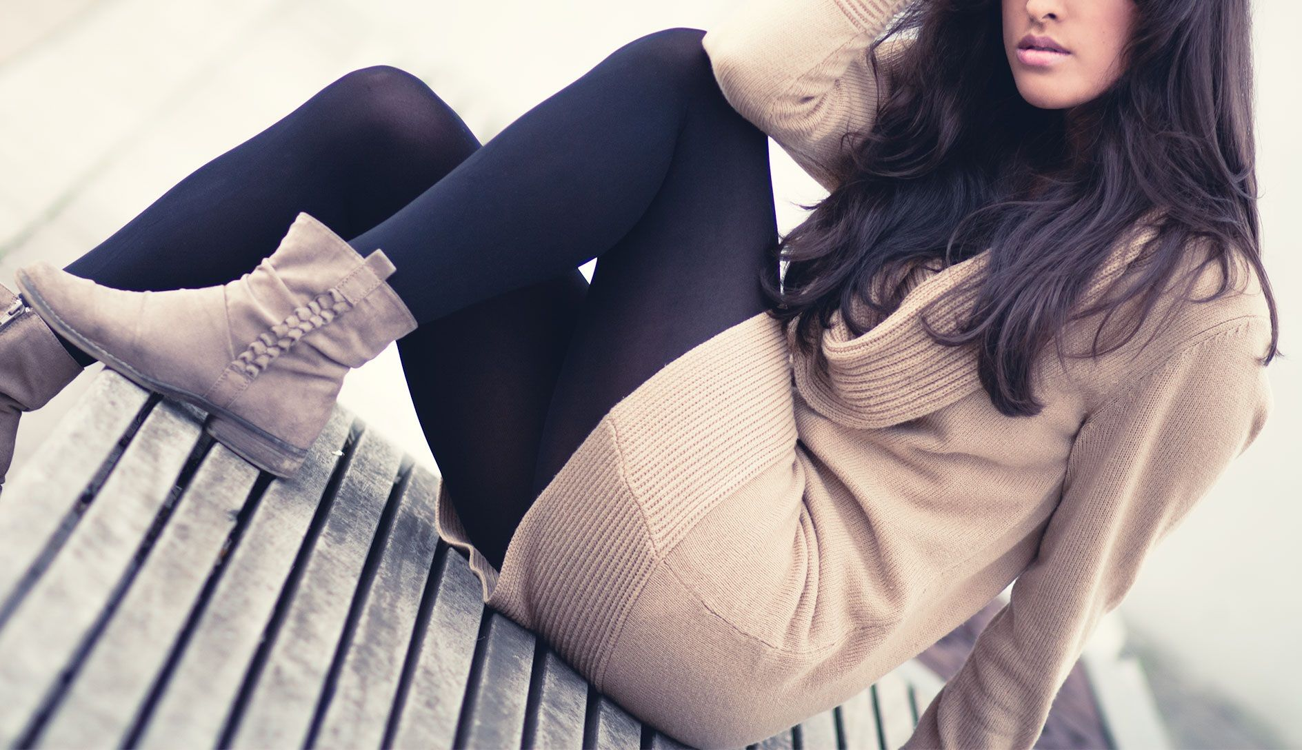 fall outfit, long pullover, tights, boots