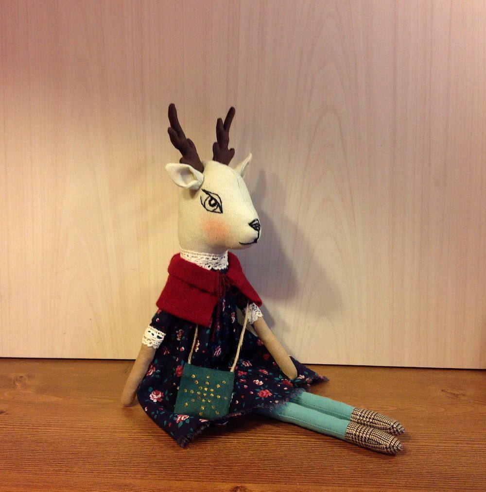 heirloom doll deer stuffed animal woodland plushie fabric doll art doll cloth doll woodland doll fawn forest animals dolls heirloom toy ooak by NatashaArtDolls on Etsy https://www.etsy.com/listing/466995553/heirloom-doll-deer-stuffed-animal