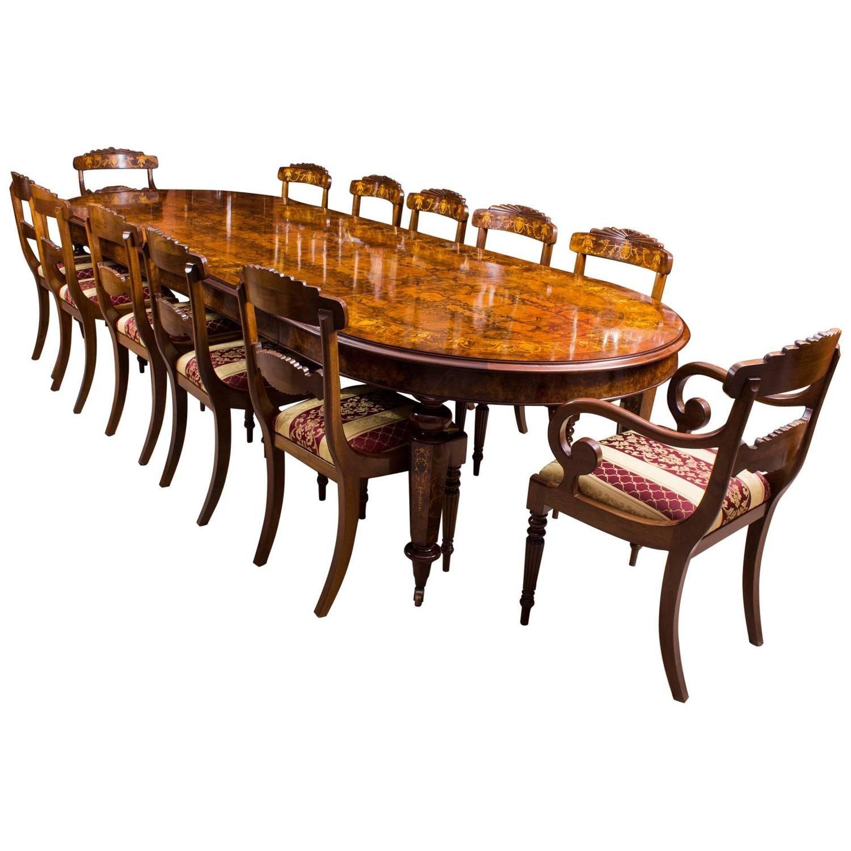 12Ft Bespoke Handmade Burr Walnut Marquetry Dining Table & 12 Impressive Handmade Dining Room Chairs Inspiration