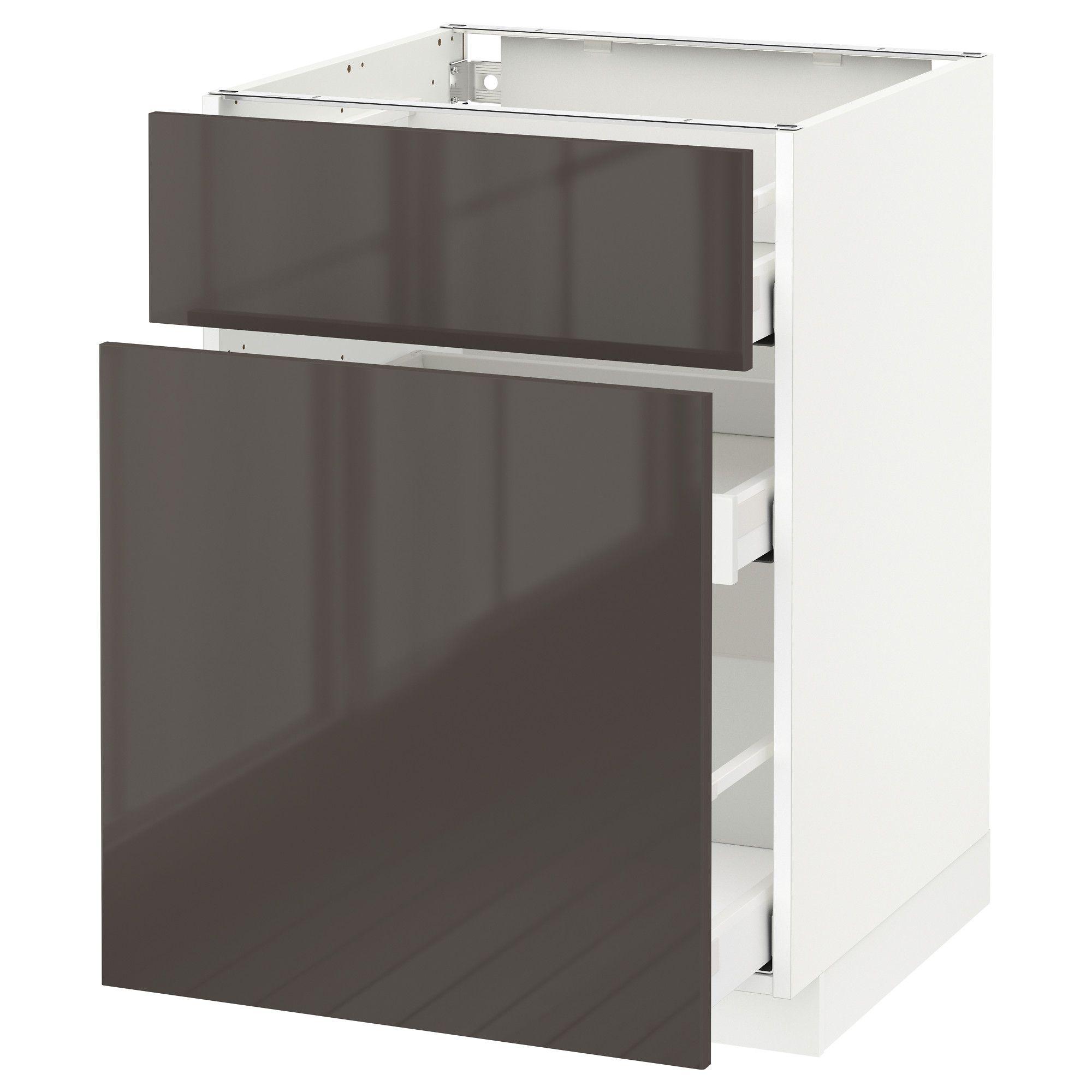 Metod Maximera Element Bas Rangement Coul Tiroir Blanc 60x60 Cm Ringhult Brillant Gris Ikea Cuisine 3m Ikea