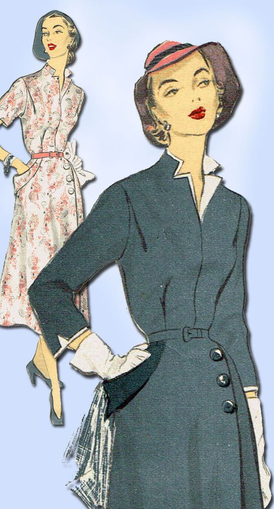 1950s Vintage Advance Sewing Pattern 5983 Misses Afternoon Dress Size 32 Bust