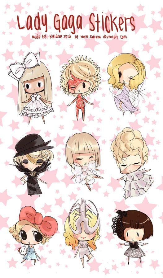 Lady Gaga Stickers by Kaiami.deviantart.com on @DeviantArt. J'adore le style de cet artiste ... LOVE Kaiami's style