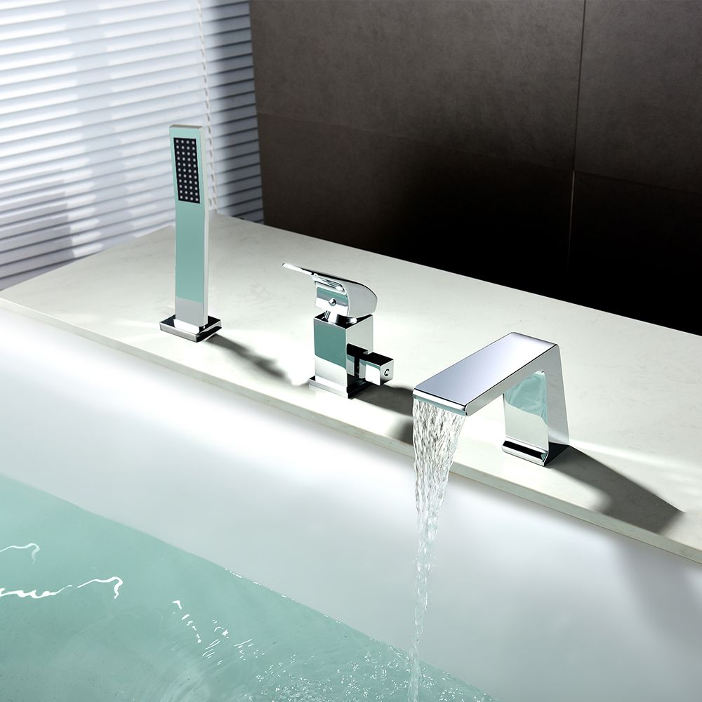 Waterfall Roman tub faucet in chrome makes a simple but elegant ...