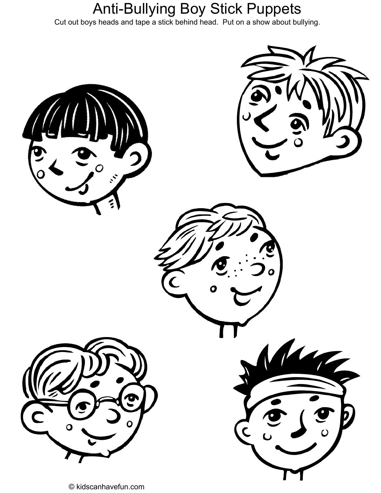 Anti Bullying Boy Stick Puppets