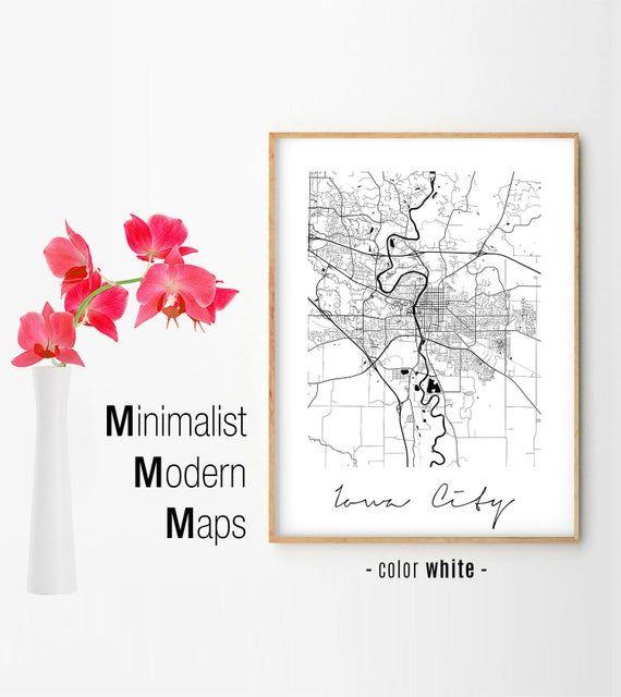 Iowa City Minimalist Iowa City Map Iowa City Map Print Iowa