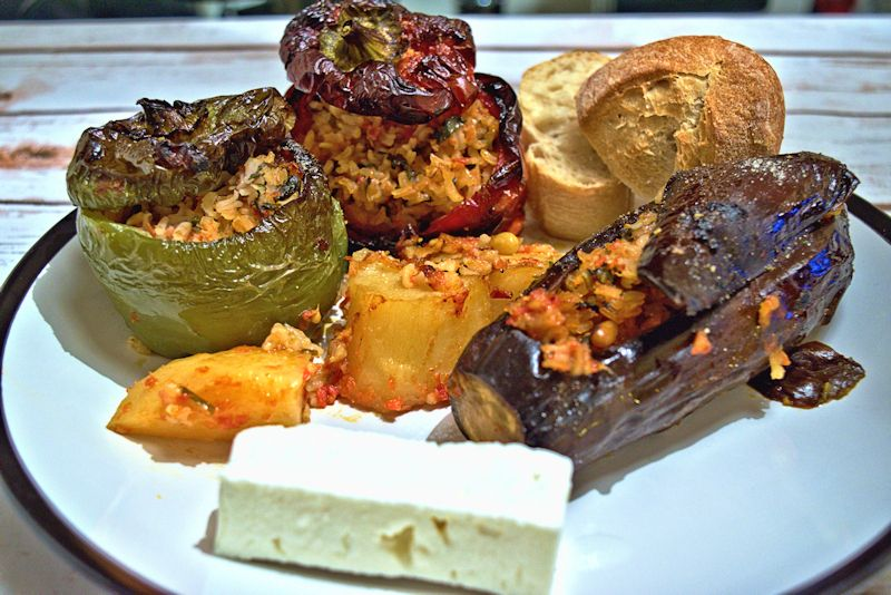 Greek style stuffed peppers and eggplants recipe stuffed pepper greek style stuffed peppers and eggplants forumfinder Image collections