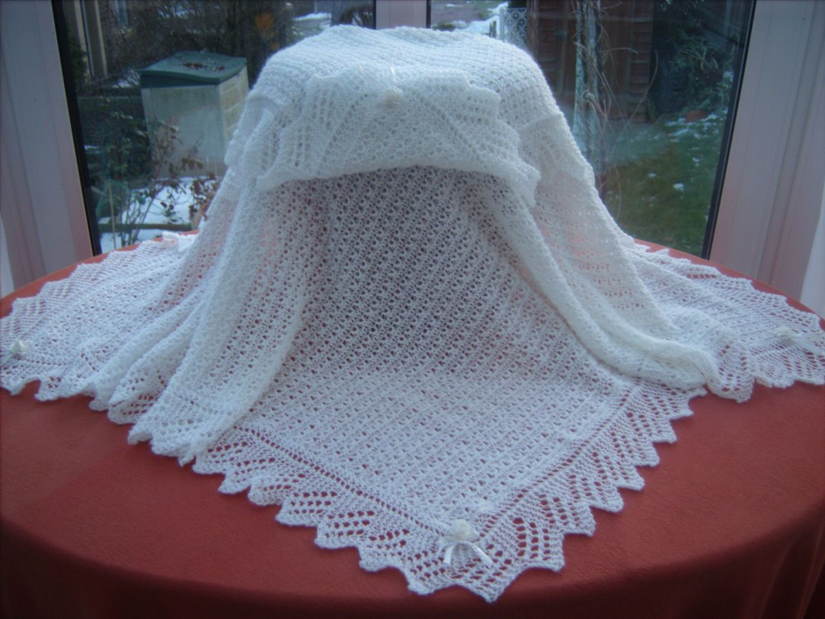 Exquisite Hand Knitted Baby Shawl Blanket White 2 Ply Square 40 x 40 ...