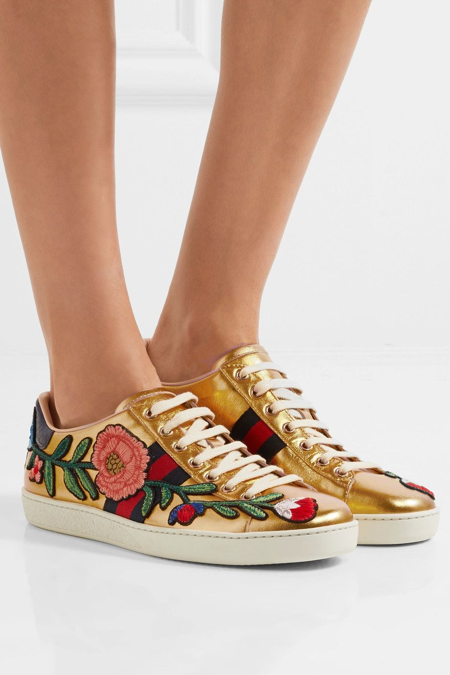 9c1612ee0 Gucci - Ace watersnake-trimmed appliquéd metallic leather sneakers ...