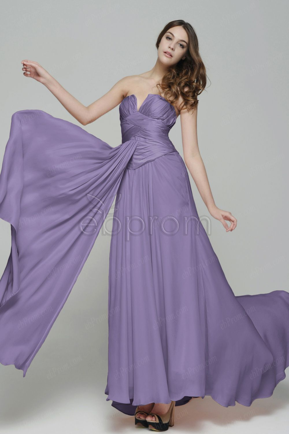 Strapless Lavender Long Prom Dress with Pleated Top | ebProm Prom ...