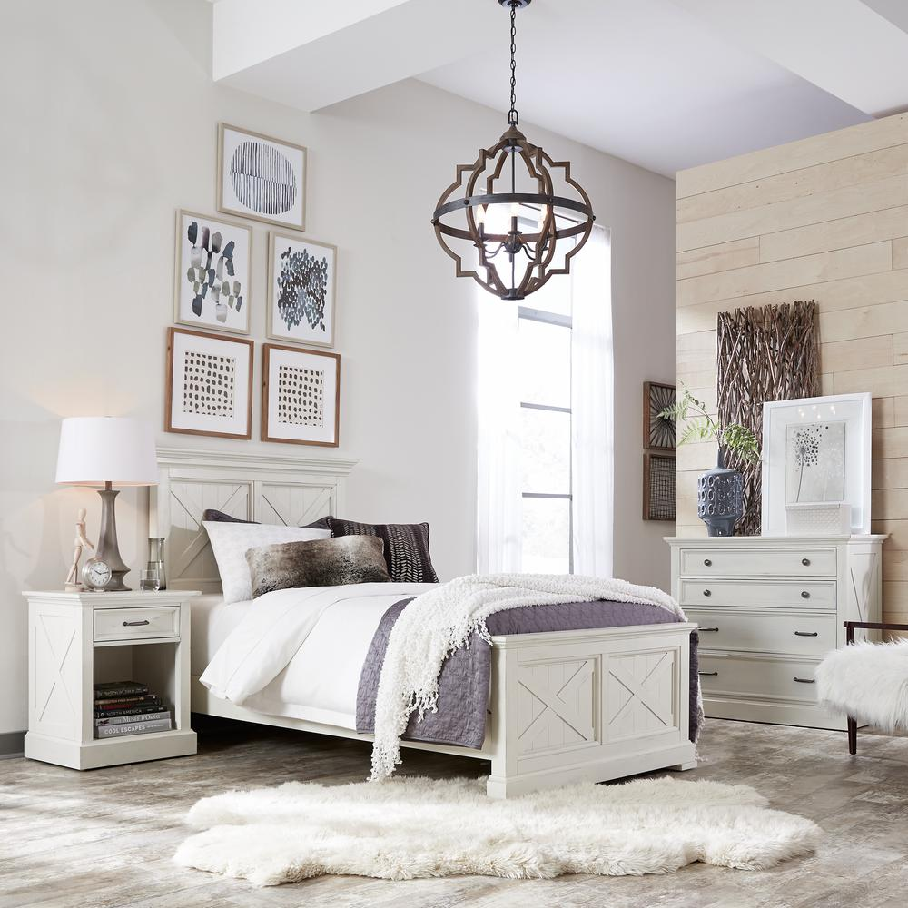 Homestyles Seaside Lodge 3 Piece Hand Rubbed White King Bedroom